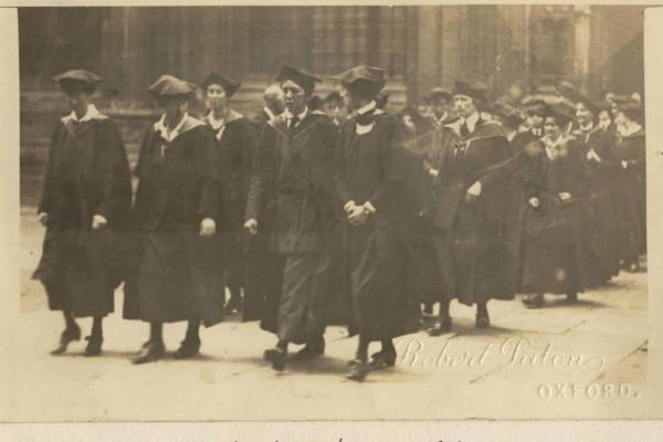Photograph of the first cohort of women graduating from Oxford University in 1920